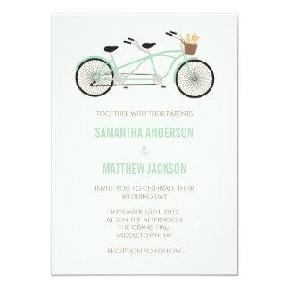 Invitación en tándem del boda de la bici - verde invitación 12,7 x 17,8 cm