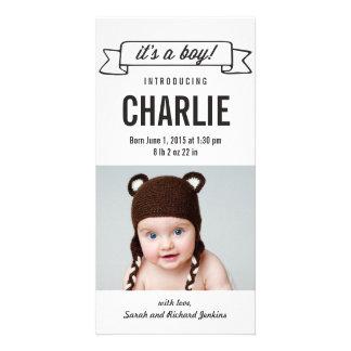 Invitación encantadora del nacimiento del bebé de  tarjeta personal con foto