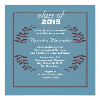 Invitación enmarcada de la graduación de la invitación 13,3 cm x 13,3cm
