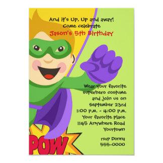 Invitación enmascarada del cumpleaños del super