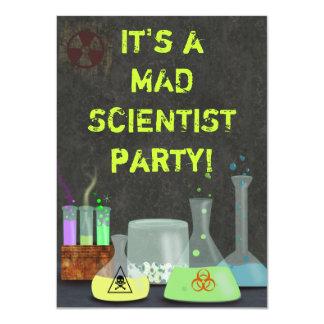 Invitación enojada del fiesta del científico invitación 11,4 x 15,8 cm