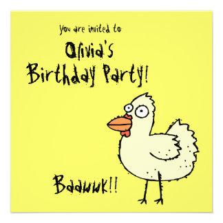 Invitación enrrollada Bawk de la fiesta de cumplea