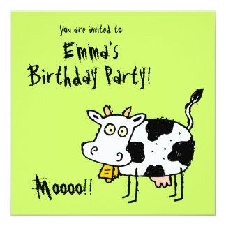 ¡Invitación enrrollada Moooo del fiesta de la vaca