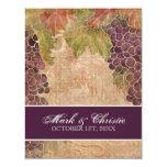 Invitación envejecida del boda del viñedo de la invitación 10,8 x 13,9 cm