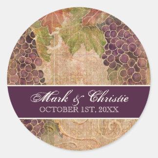 Invitación envejecida del boda del viñedo de la pegatina redonda