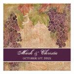 Invitación envejecida del boda del viñedo de la uv