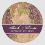 Invitación envejecida del boda del viñedo de la uv pegatina