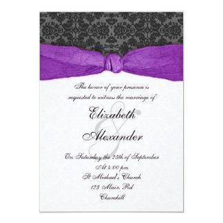 Invitación envuelta cinta del damasco - púrpura invitación 12,7 x 17,8 cm