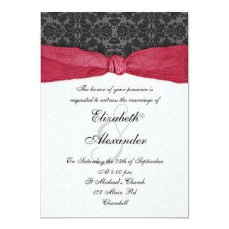 Invitación envuelta cinta del damasco - rojo invitación 12,7 x 17,8 cm