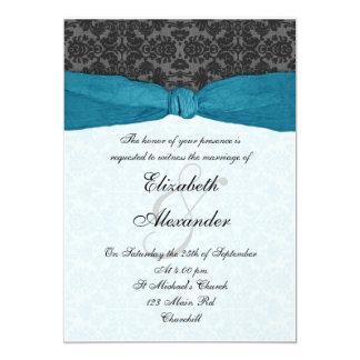 Invitación envuelta cinta del damasco - trullo invitación 12,7 x 17,8 cm