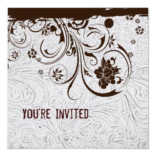 Invitación equipada blanco del cordón del cuero y