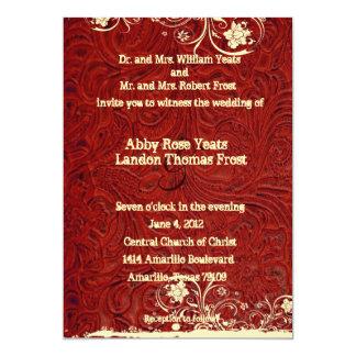 Invitación equipada rojo del cuero y del boda del