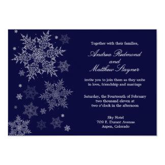 Invitación escarchada del boda del copo de nieve