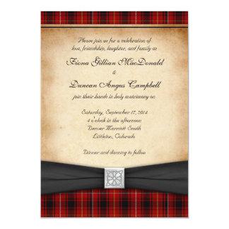 Invitación escocesa céltica del boda del tartán de