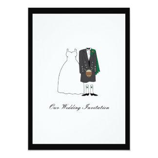 Invitación escocesa del boda de la falda escocesa