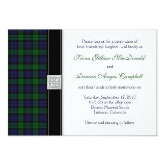 Invitación escocesa del boda del tartán del reloj