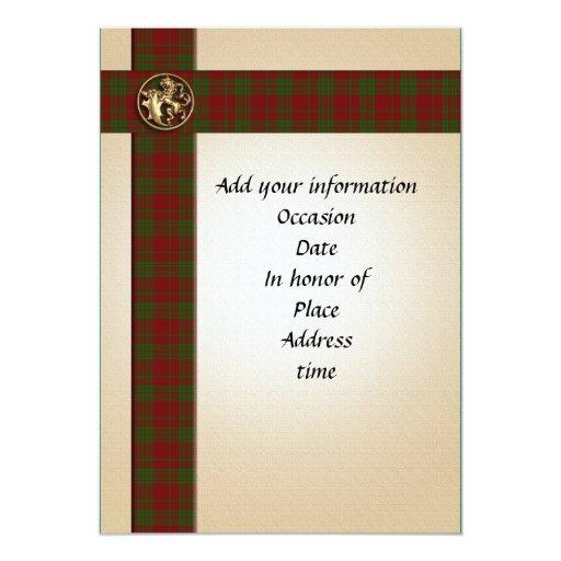 Invitación escocesa masculina de la tela escocesa