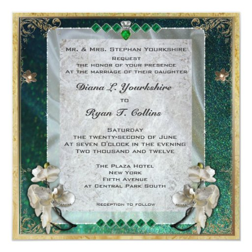 Invitación esmeralda del diamante invitación 13,3 cm x 13,3cm
