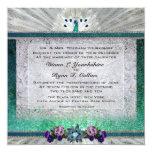 Invitación esmeralda del pavo real invitación 13,3 cm x 13,3cm
