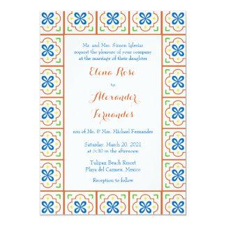 Invitación española del boda de la teja de invitación 12,7 x 17,8 cm