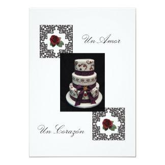"""Invitación española """"torta del boda de Flowers& """""""