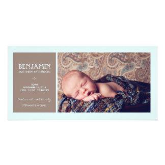 Invitación especial del nacimiento del bebé de la  tarjetas personales con fotos