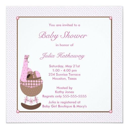 Invitación étnica de la ducha rosada de la cuna de invitación 13,3 cm x 13,3cm
