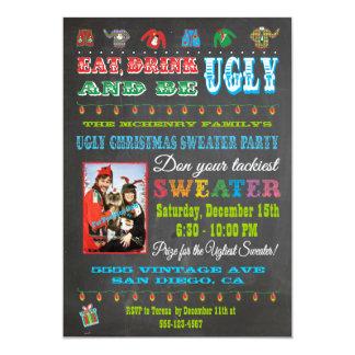 Invitación fea de la foto del suéter del navidad