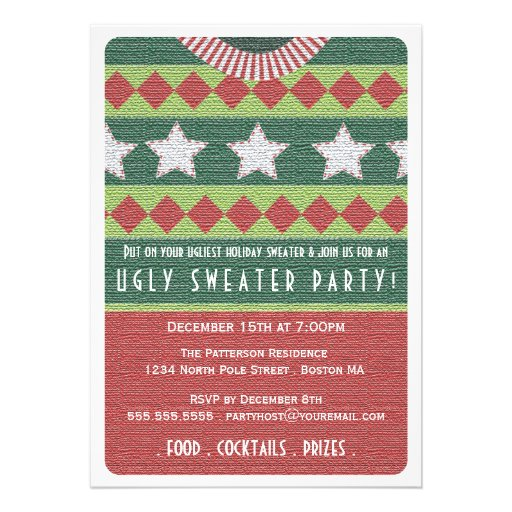Invitación fea del fiesta del suéter del día de fi