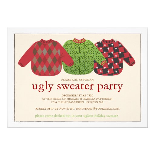 Invitación fea del fiesta del suéter del navidad