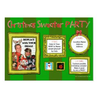 Invitación fea del fiesta del suéter del navidad invitación 12,7 x 17,8 cm