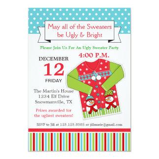 Invitación fea del suéter del navidad