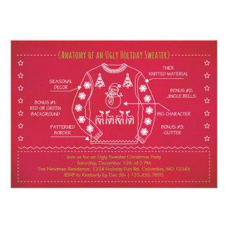 Invitación fea divertida del navidad del suéter