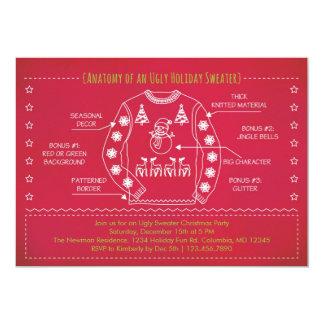 Invitación fea divertida del navidad del suéter invitación 12,7 x 17,8 cm