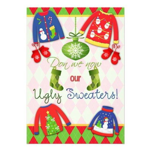 Invitación fea festiva del fiesta del suéter del n