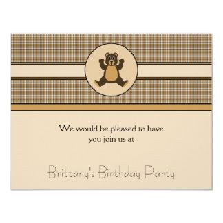 Invitación feliz de la tela escocesa de Brown del