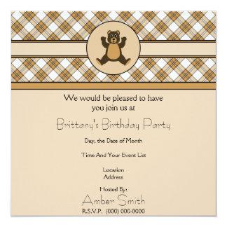 Invitación feliz de la tela escocesa del caramelo