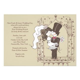 Invitación feliz del brunch del boda del poste de