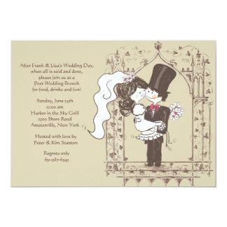 Invitación feliz del brunch del boda del poste de invitación 12,7 x 17,8 cm