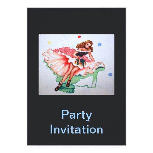 Invitación femenina del fiesta de la tela del invitación 12,7 x 17,8 cm