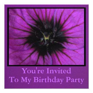 Invitación - fiesta de cumpleaños - flor púrpura