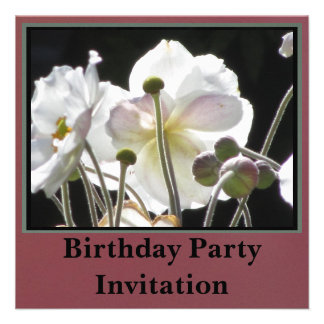 Invitación - fiesta de cumpleaños - flores blancas