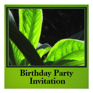 Invitación - fiesta de cumpleaños - hojas del verd