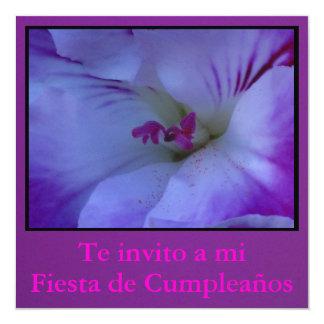 Invitación - Fiesta de Cumpleaños - Púrpura y Rosa Card