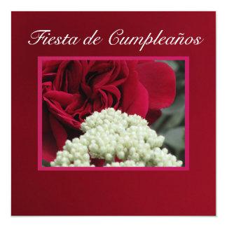 Invitación - Fiesta de Cumpleaños - Rosa roja Card