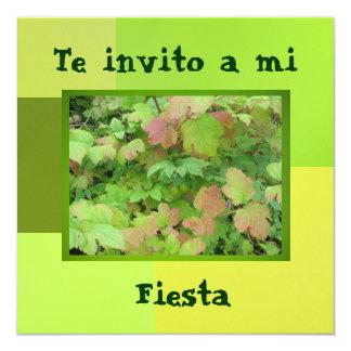 Invitación - Fiesta - Green and Pink Leaves Card