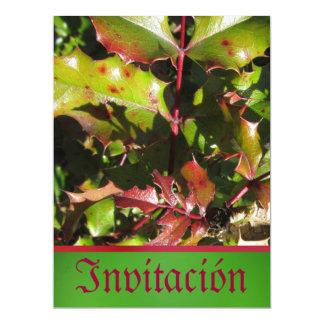 Invitación - Fiesta - Holly Leaves Card