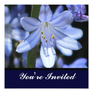 Invitación - flor azul - multiusos invitación 13,3 cm x 13,3cm