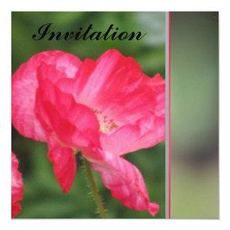 Invitación - flor roja - multiusos invitación 13,3 cm x 13,3cm