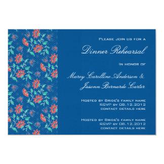 Invitación floral 3 de la cena del ensayo del invitación 12,7 x 17,8 cm